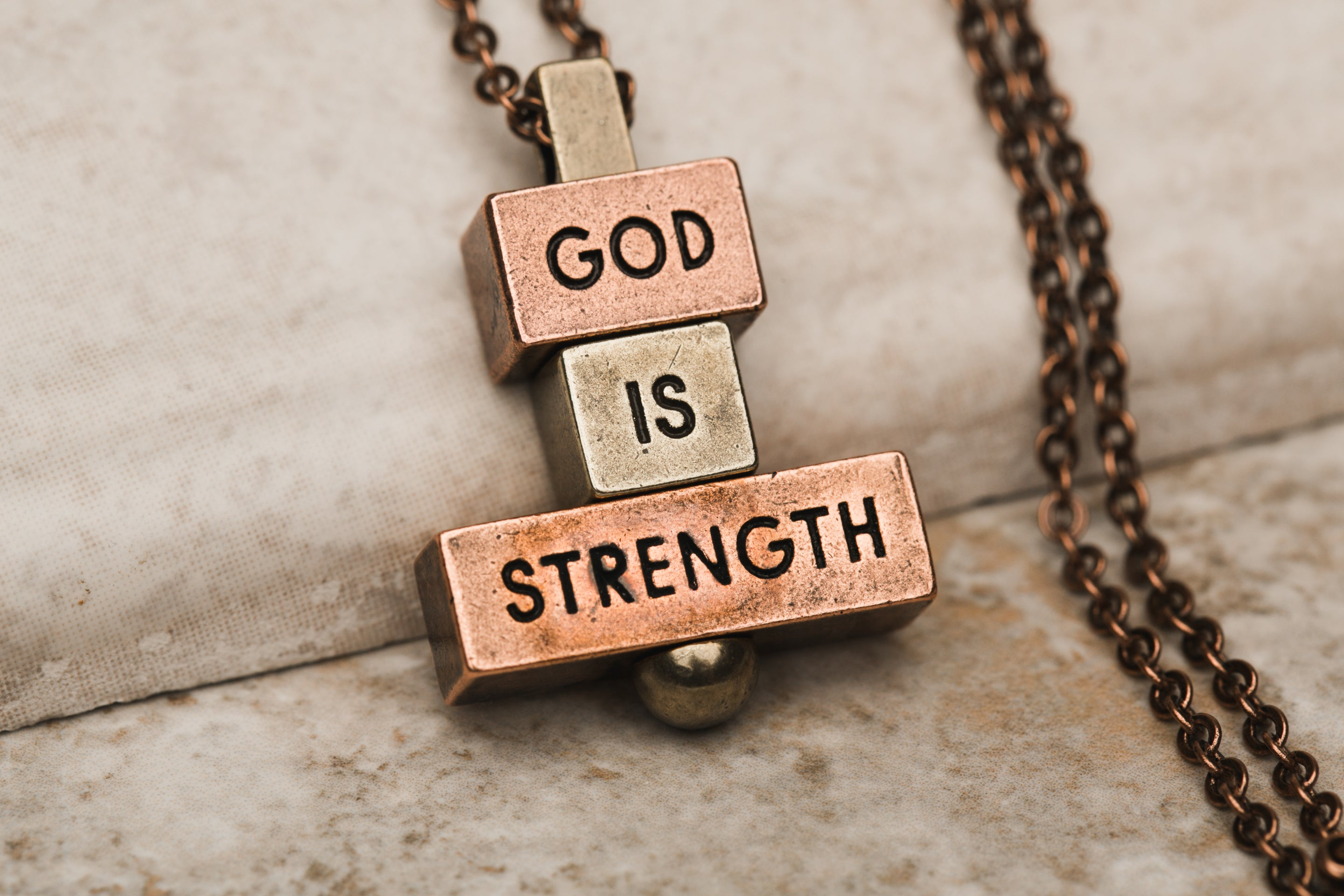 God is Strength 28 inch bronze chain
