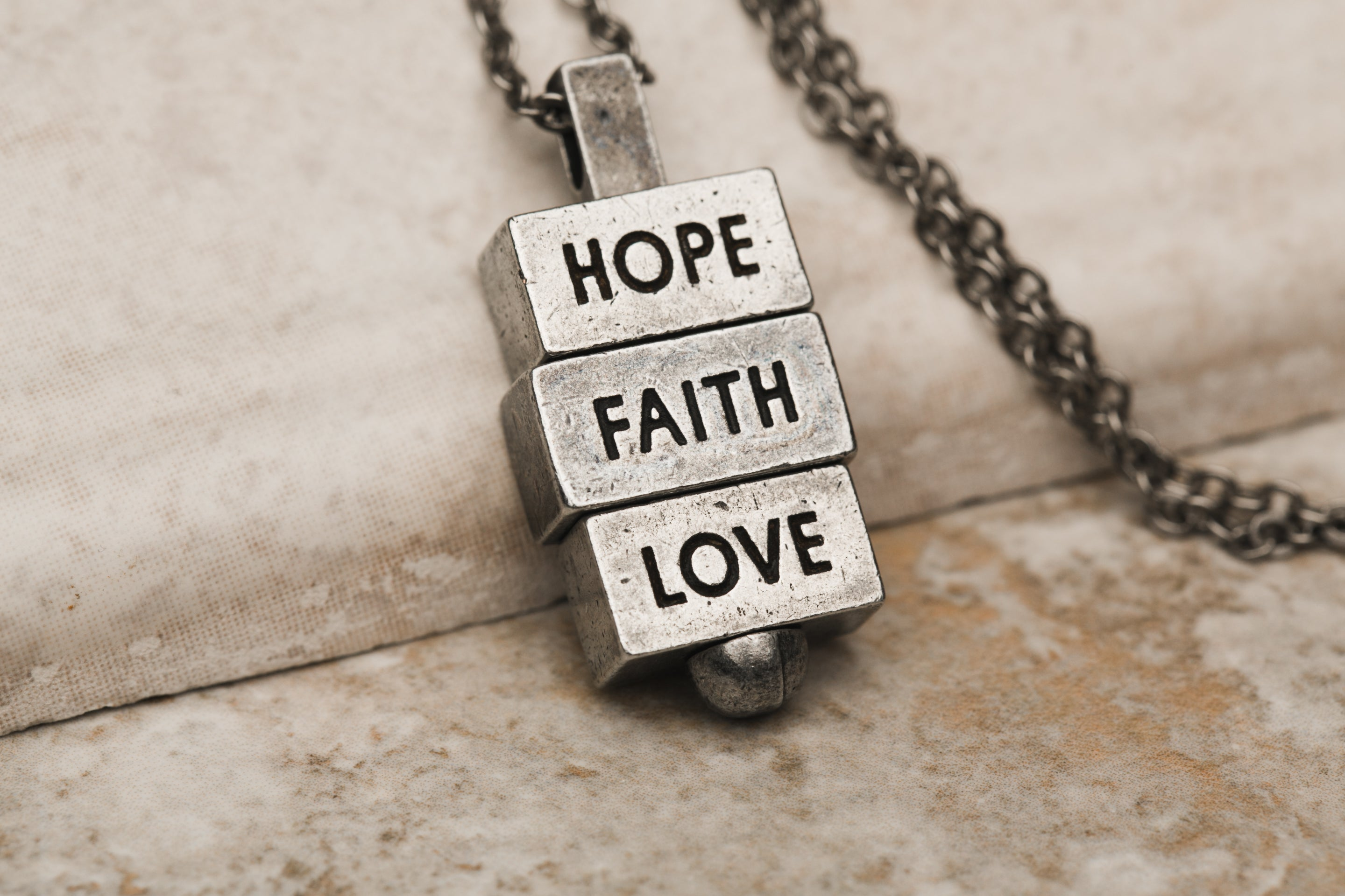 Hope Faith Love 28 inch pewter chain