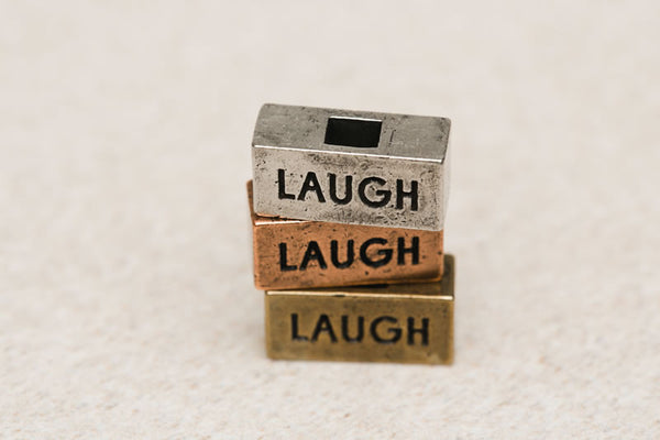 """Laugh"" word brick 212west necklaces"
