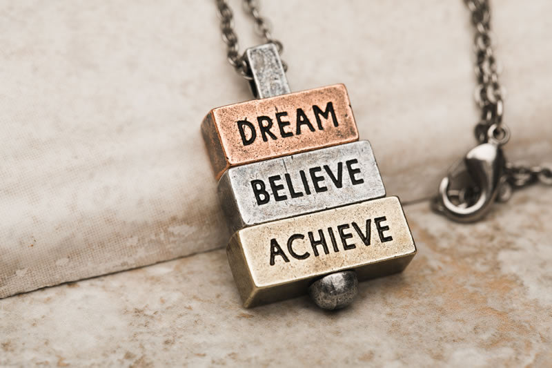 """Dream Believe Achieve"" - 212 west  Personalized Necklaces"