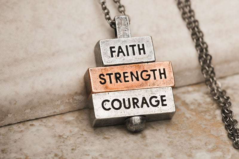"""Faith Strength Courage"" 212 west necklace collection"