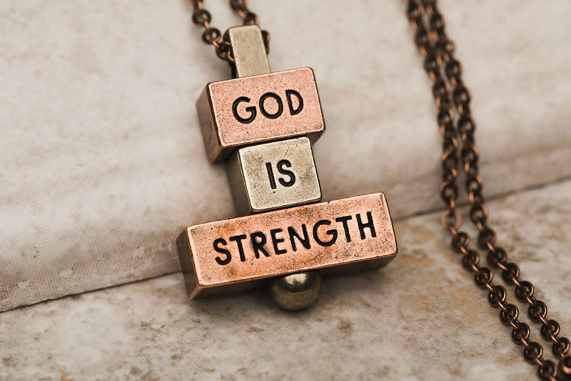 """God is Strength""  212 west necklaces"