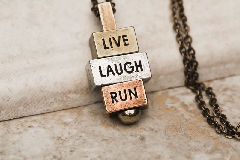 """Live Laugh Run"" 212west.com necklace"
