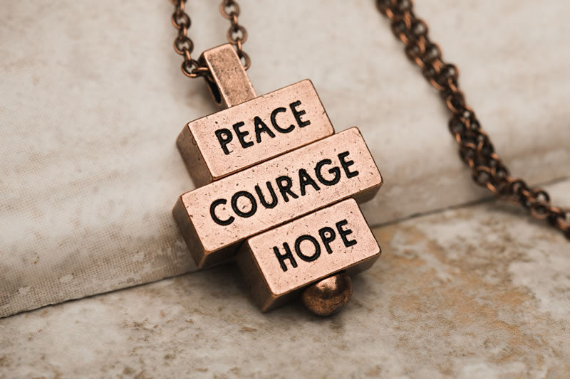 Peace Courage Hope necklaces 212west.com