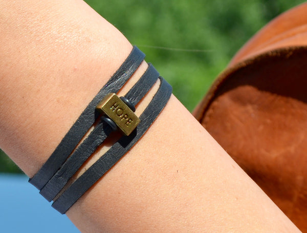Hope Leather Wrap Bracelet