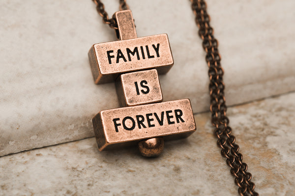 """family is forever"" word bricks 212 west necklaces"