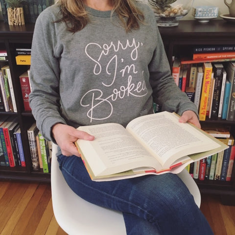 sorry i'm booked sweatshirt