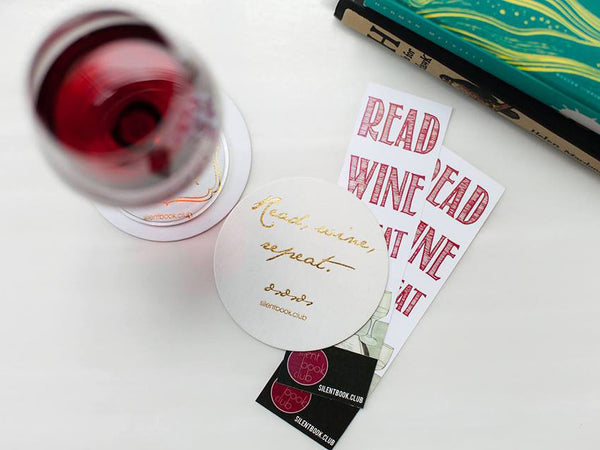 silent book club coasters bookmarks