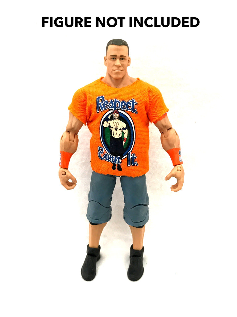 John Cena. Respect. Earn It. Custom Shirt For WWE Mattel Figures.