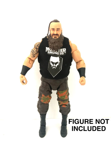 Braun Strowman. Monster Among Us. Custom Shirt For WWE Mattel Figures.