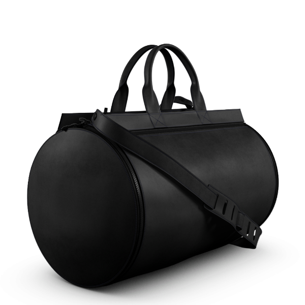 Duffel Gym Bag Black leather