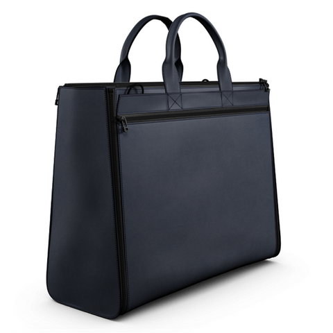Carryall Tote Bag in Blue Matte Leather