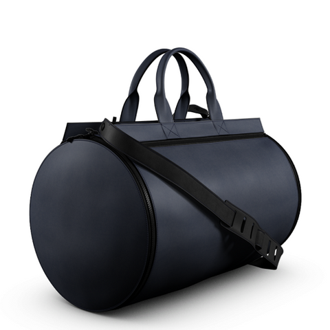 Duffel Gym Bag in Blue Matte Leather