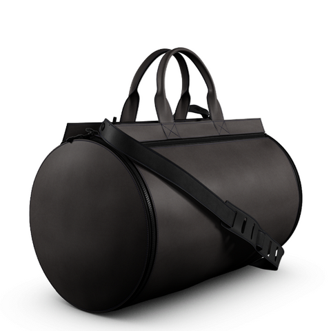 Duffel Gym Bag in Brown Matte Leather