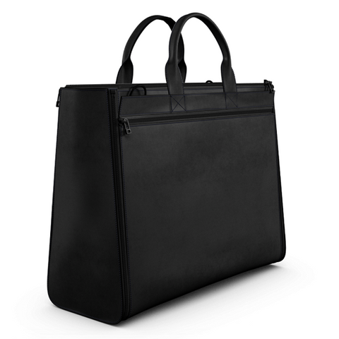 Carryall Tote Bag Black Matte Leather