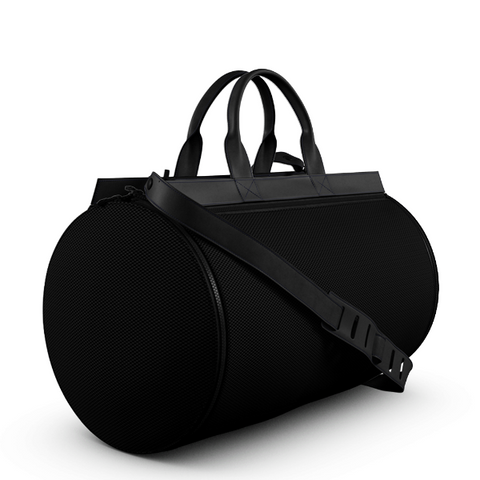 Duffel Gym Bag in Black NeoMesh and Black Matte Leather