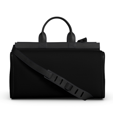 Overnight Bag in Black Matte Leather and Black NeoMesh