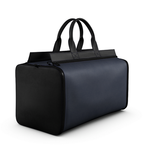 Overnight Bag Blue Black Matte Leather