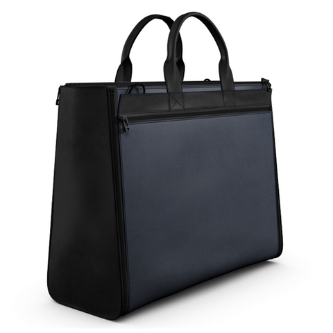 Carryall Tote Bag in Blue and Black Matte Leather