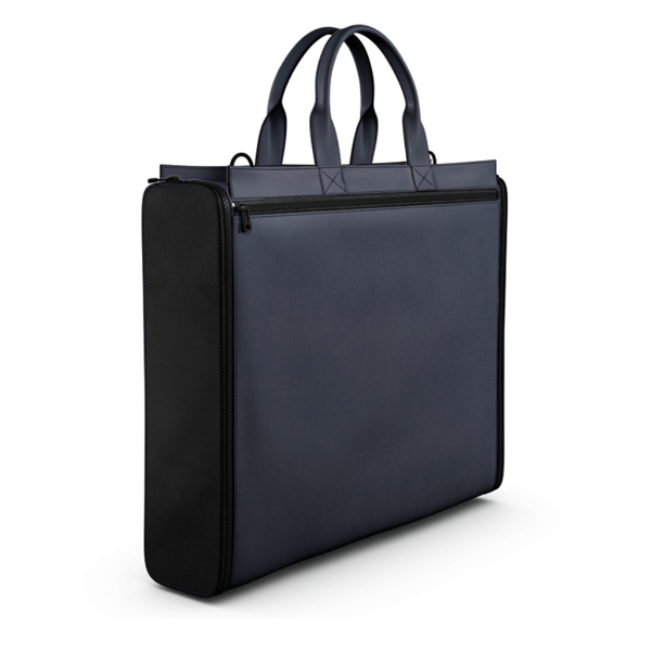 Briefcase Bag in Blue and Black Matte Leather