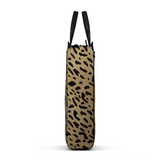 Briefcase Bag in Leopard Printed Calf Skin Leather and Black Matte Leather