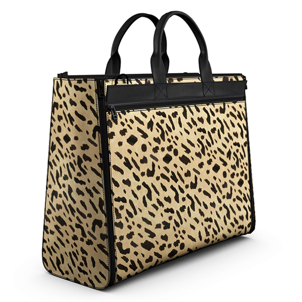 Carryall Tote Bag in Printed Leopard Calf Skin Leather and Black Matte Leather