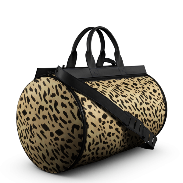 Duffel Gym Bag in Leopard Printed Calf Skin Leather and Matte Black Leather