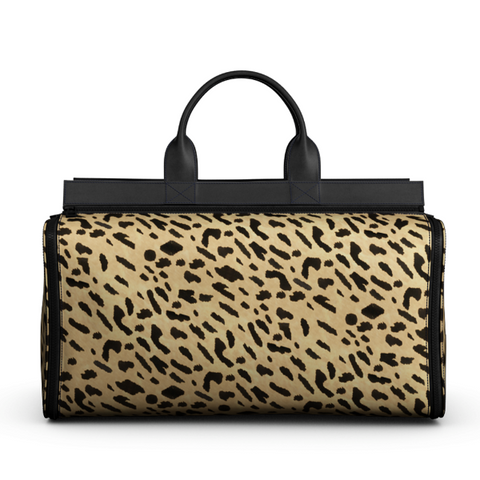 Overnight Bag in Printed Leopard Calf Skin Leather and Black Matte Leather