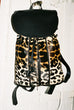 BACKPACK IN BLACK LEATHER & LEOPARD PRINT