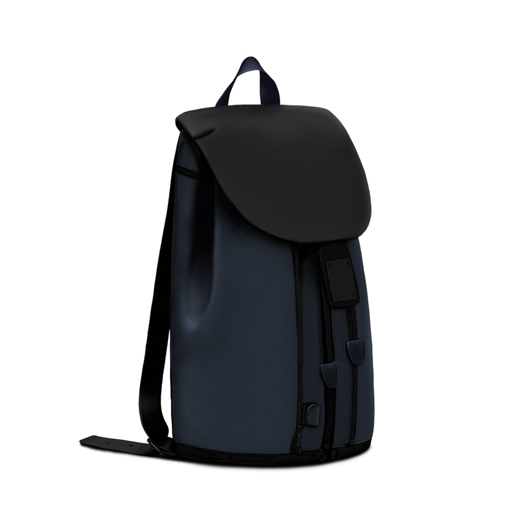 BACKPACK IN BLACK & BLUE LEATHER
