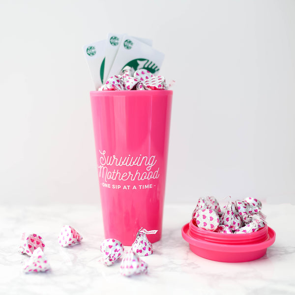 Surviving Motherhood Travel Tumbler - Pink