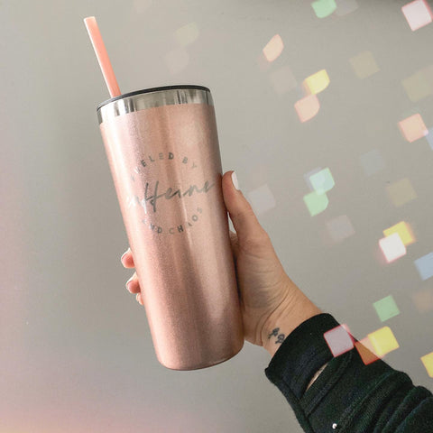 Fueled by Caffeine and Chaos 22oz Rose Gold Stainless Tumbler [ships in 1-3 business days]