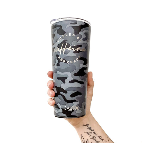 Fueled by Caffeine and Chaos Camo Stainless Tumbler [ships in 3-5 business days]
