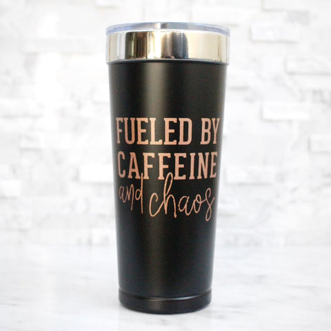 Fueled By Caffeine & Chaos 21oz Stainless Tumbler - Rose Gold + Matte Black [ships in 3-5 business days]