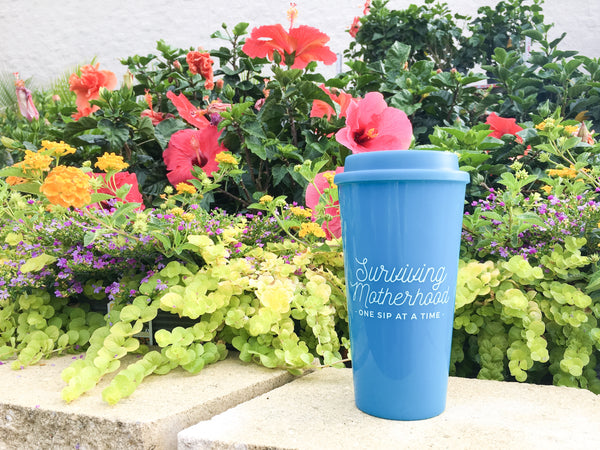 Surviving Motherhood Travel Tumbler - Aqua
