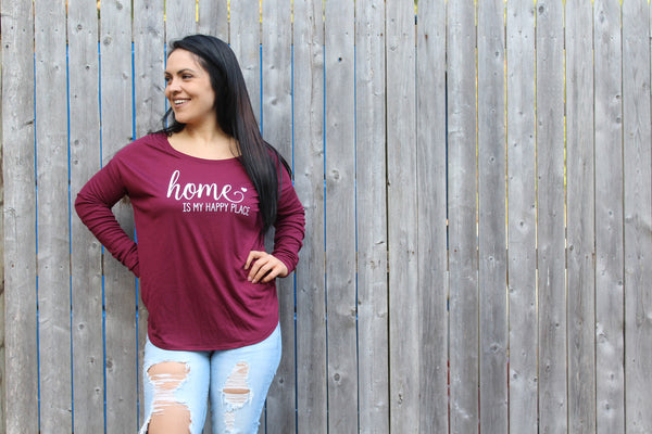 Home Is My Happy Place Long Sleeve (Cranberry)