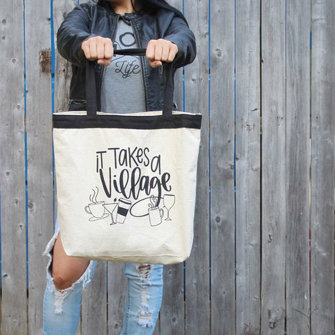 It Takes a Village Canvas Tote Bag