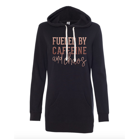 Fueled by Caffeine + Chaos Fleece Hoodie Dress [ships in 3-5 business days]