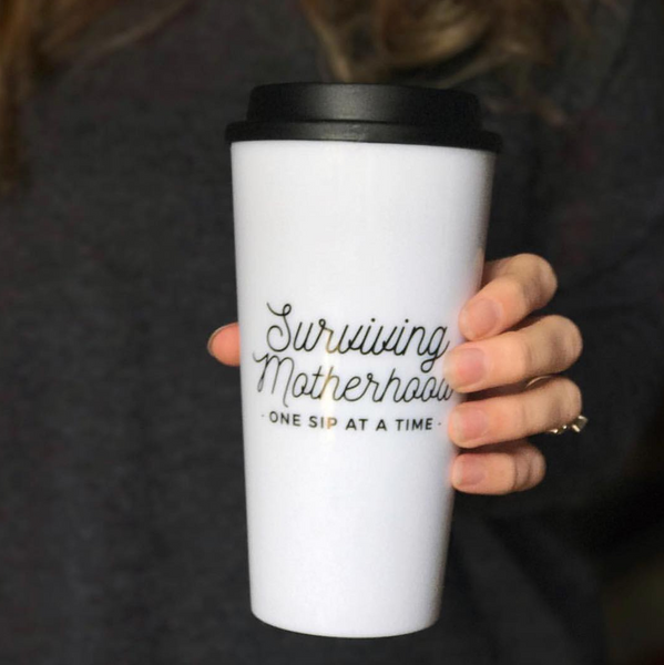 Surviving Motherhood Travel Tumbler - White