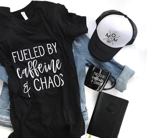 Fueled by Caffeine & Chaos V-Neck Tee
