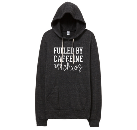 Fueled by Caffeine & Chaos Fleece Pocket Hoodie
