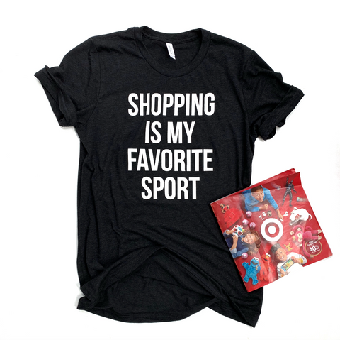 Shopping is my Favorite Sport - Charcoal Black Triblend Tee - [Ships in 3-5 Business Days]