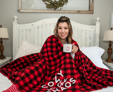 Cozy in the Chaos Buffalo Plaid Fleece Blanket [ships in 3-5 business days]