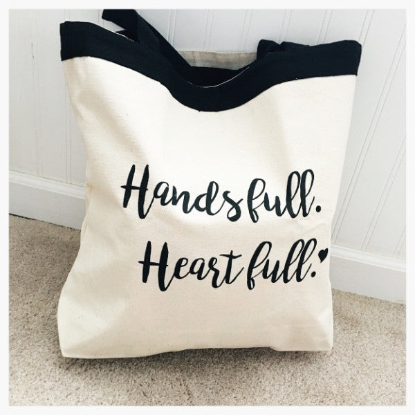 Hands Full Heart Full Large Canvas Tote