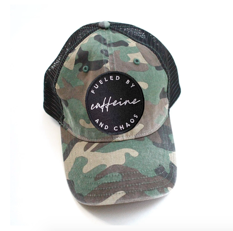 Fueled by Caffeine & Chaos Distressed Hat - Camo Pattern
