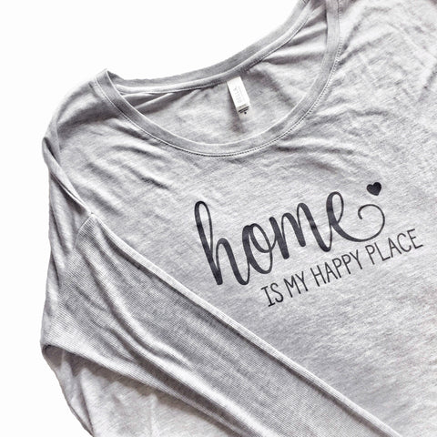 Home Is My Happy Place Long Sleeve (Gray)
