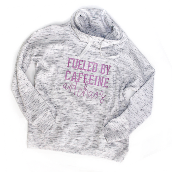 Fueled by Caffeine and Chaos Cowl Neck Sweatshirt - White + Fuschia - [Ships in 3-5 business days]