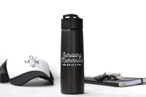Surviving Motherhood Water Bottle - Matte Black