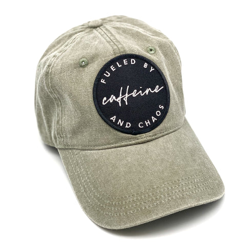 Fueled by Caffeine and Chaos Olive Baseball Cap [ships in 3-5 business days]