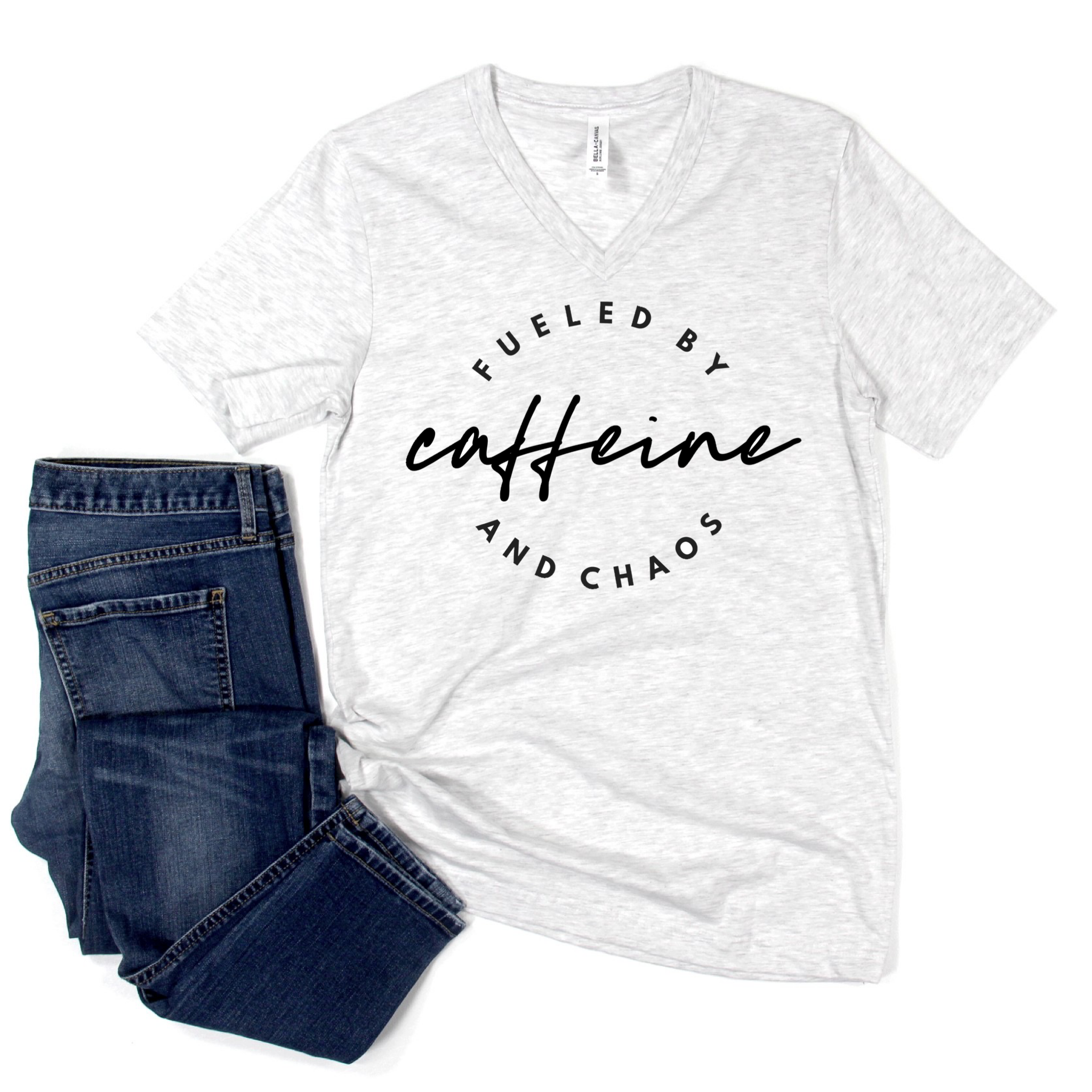Fueled by Caffeine & Chaos White Fleck V-neck Tee [ships in 3-5 business days]